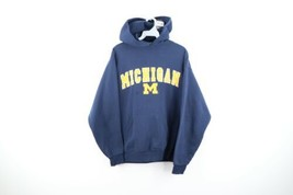 Vintage 90s Mens Small University of Michigan Spell Out Faded Hoodie Swe... - $59.35