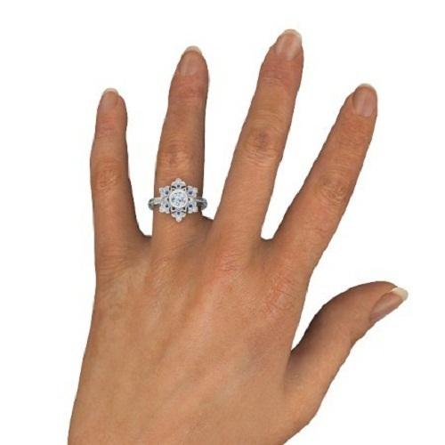 14k White Gold Over 925 Silver Round Cut Diamond Disney Princess Snowflake Ring
