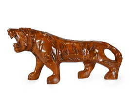 Vintage Hand Carved Solid Wood Tiger Wild Animal Figurine Home Decor  - $57.00