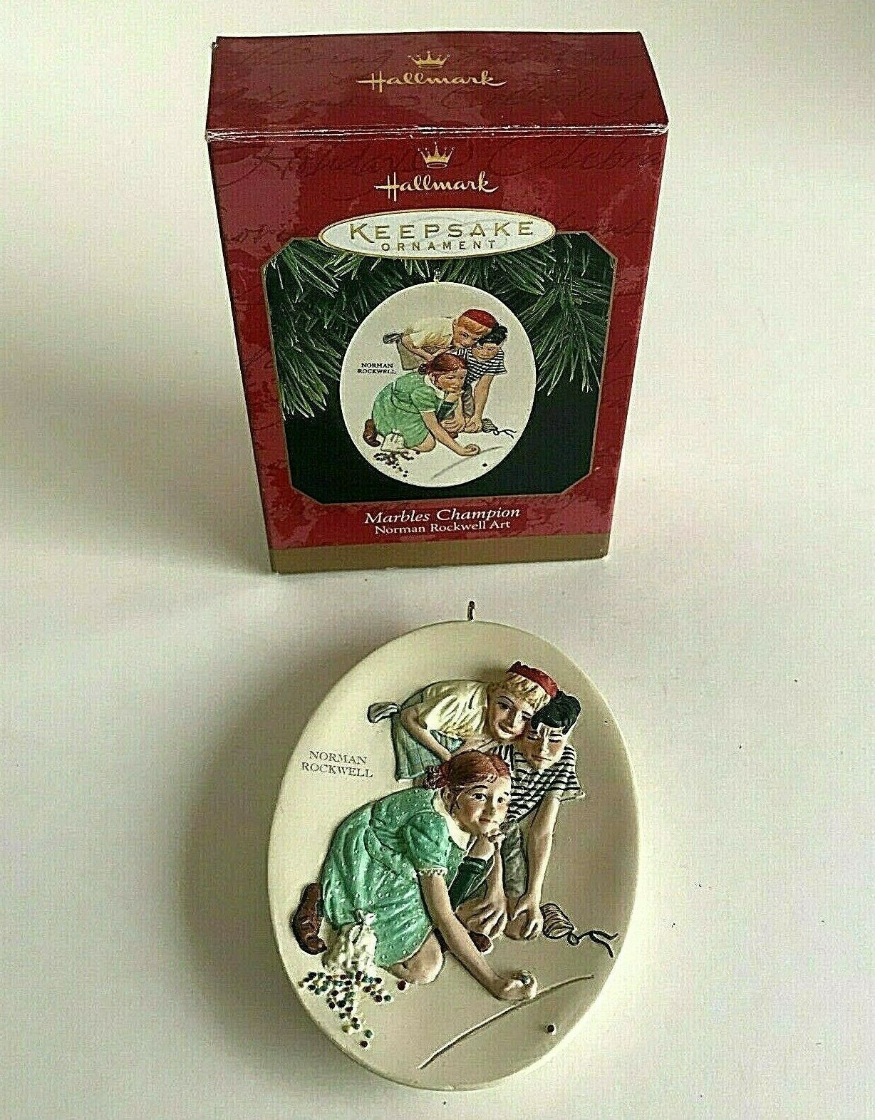 Primary image for Vintage 1997 Hallmark Keepsake Marbles Champion Norman Rockwell Ornament