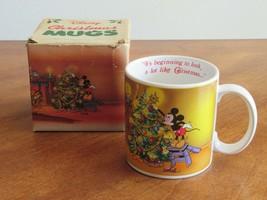 DISNEY MICKEY MOUSE Tree Pluto Vintage Christmas Applause Coffee Mug 198... - $12.99