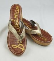 Sam Edelman women 10 natural romy wedge sandals light gold - $37.51