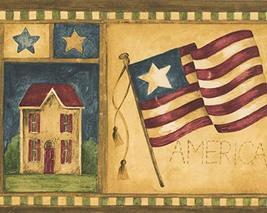 USA American Flags Pear Tree Cow Apple Patriotic Yellow Wallpaper Border... - $16.33
