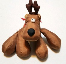 Hallmark rodney reindeer nylon brown vtg christmas stuffed animal plush toy - $18.04