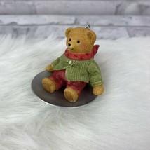 Hallmark Christmas Ornament Wendy Whoosh Teddy Bear Sledding 2002 Sled N... - $6.89