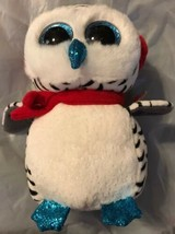 """Ty NESTER Snow Owl 6"""" Christmas Beanie Boo New 2018 MWMT Red & Green Ear... - $16.82"""