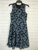 Tommy Hilfiger Blue Floral Dress black Lace Sleeveless Fit & Flare Women... - $37.59