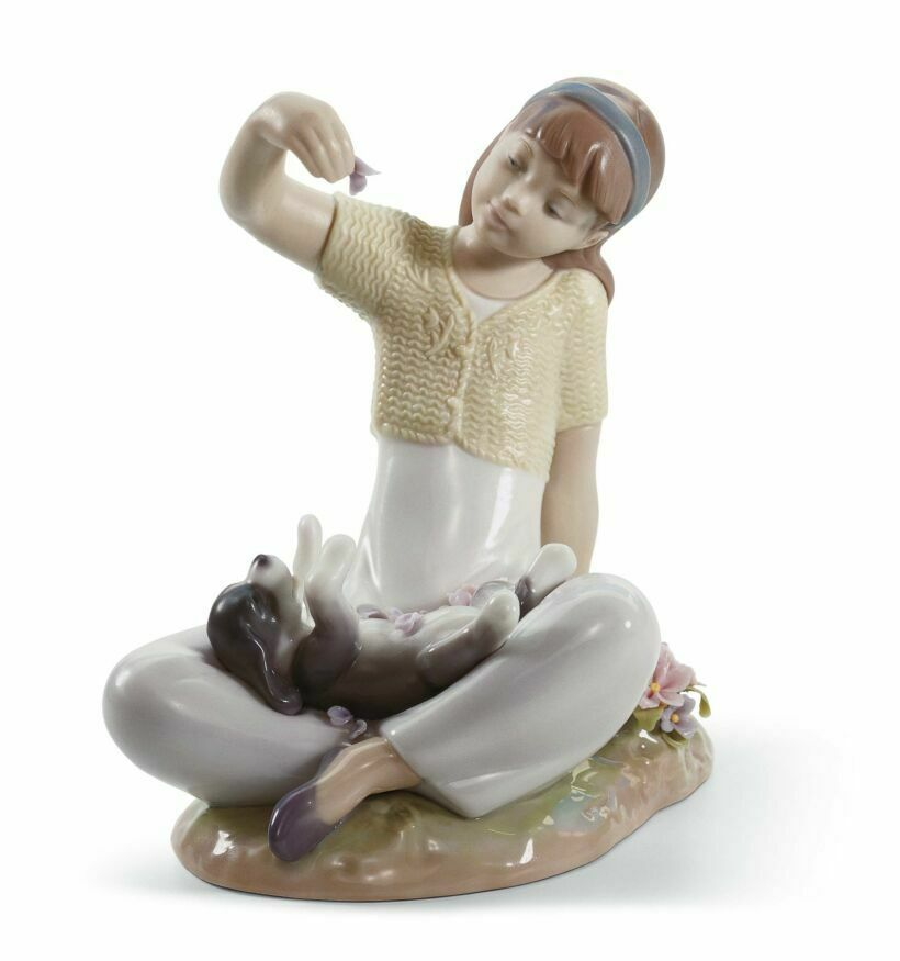 Primary image for Lladro 01007711 Playtime With Petals Porcelain Figurine New