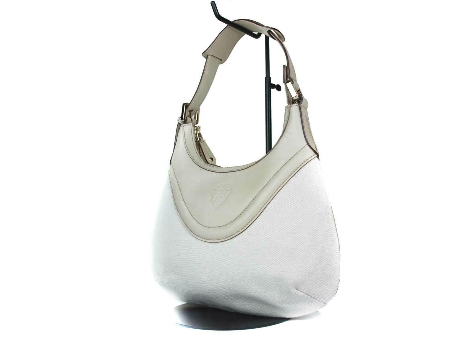 Authentic GUCCI Canvas Leather Ivory Shoulder Bag GS17614L