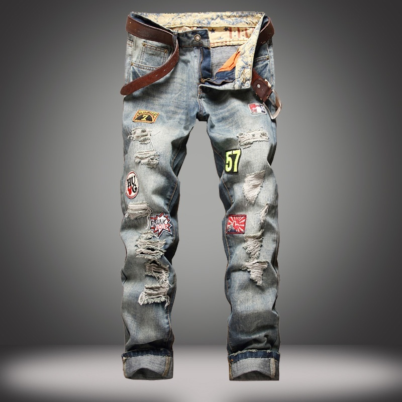 Men's Washed Ripped Distressed Patched Biker Slim Jeans Pants
