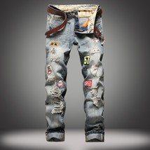 Men's Washed Ripped Distressed Patched Biker Slim Jeans Pants - $48.96