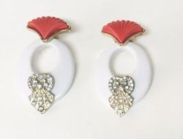 """Vintage Shell Style Hoop Rhinestone Large Stud Earrings Orange White 2.5"""" L - $24.99"""