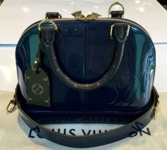 Auth Louis Vuitton Alma BB Hand Bag Navy Medium Monogram Logo Zipper LVB0193 - $2,314.62