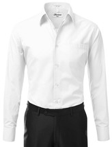 BERLIONI ITALY MEN'S PREMIUM FRENCH CONVERTIBLE CUFF SOLID DRESS SHIRT WHITE image 2