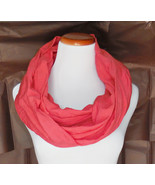 Coral Scarf, Bright Coral Infinity Scarf, Womens Fashion Scarf, Lightwei... - $24.00