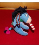 """Winnie Pooh Plush 4"""" Ornament Little EEYORE in Green Scarf Holds CandyCane - $6.29"""