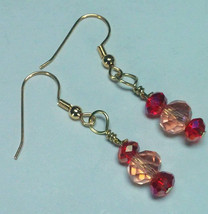 Garnet Pink faceted Dangle Earrings, Crystal Drop Earrings, Elegant Garn... - $15.00