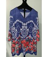 Ali Miles 2X Red Roses Blue & White Bandana Tunic 3/4 Sleeves - $26.00
