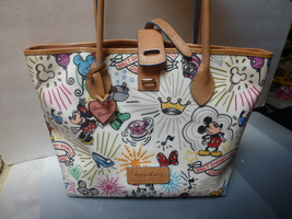 Dooney Disney Edit 2 'sketch' Tote Purse Bag Htf Mickey Minnie Castle On Front - $388.00