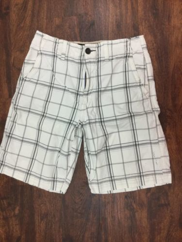 AMERICAN EAGLE Men's White and Black Plaid Summer Shorts Size 30