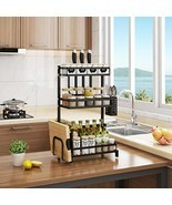 Spice Rack Stainless Steel 3 Tier Metal Kitchen Organizer Standing Bottl... - £24.28 GBP