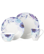 Lenox Indigo Watercolor Floral Porcelain 4 Pc Round Dish Set Blue Purple... - $69.99
