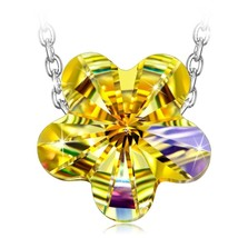 925 Sterling Silver Chain with Crystals Rainbow Flower Aurora Bore - $90.28