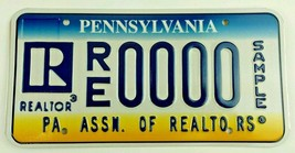 Pennsylvania Association Of Realtors Sample License Plate - $39.99