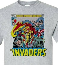 The Invaders T-Shirt Spit Fire Bucky Sub Mariner 1970s comic books graphic tee image 2