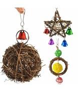 Bird Rattan Ball Natural Wood Parrots Swing Chewing Balance Training Rin... - $6.00+