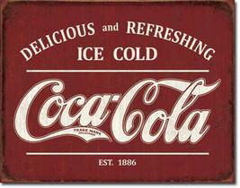 Delicious and Refreshing Coca-Cola Est. 1886 Coke Vintage Soda Pop Metal... - $20.95