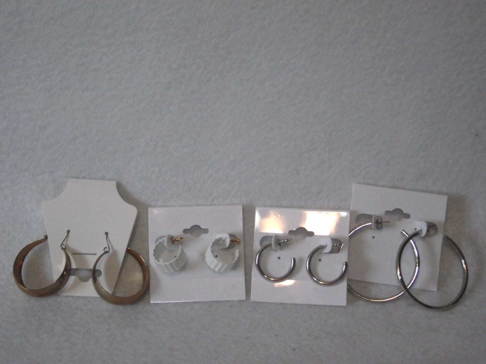 Primary image for 4pc Vintage new old stock earrings lot white gold silver plate hoop