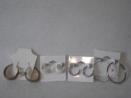 4pc Vintage new old stock earrings lot white gold silver plate hoop - $8.00