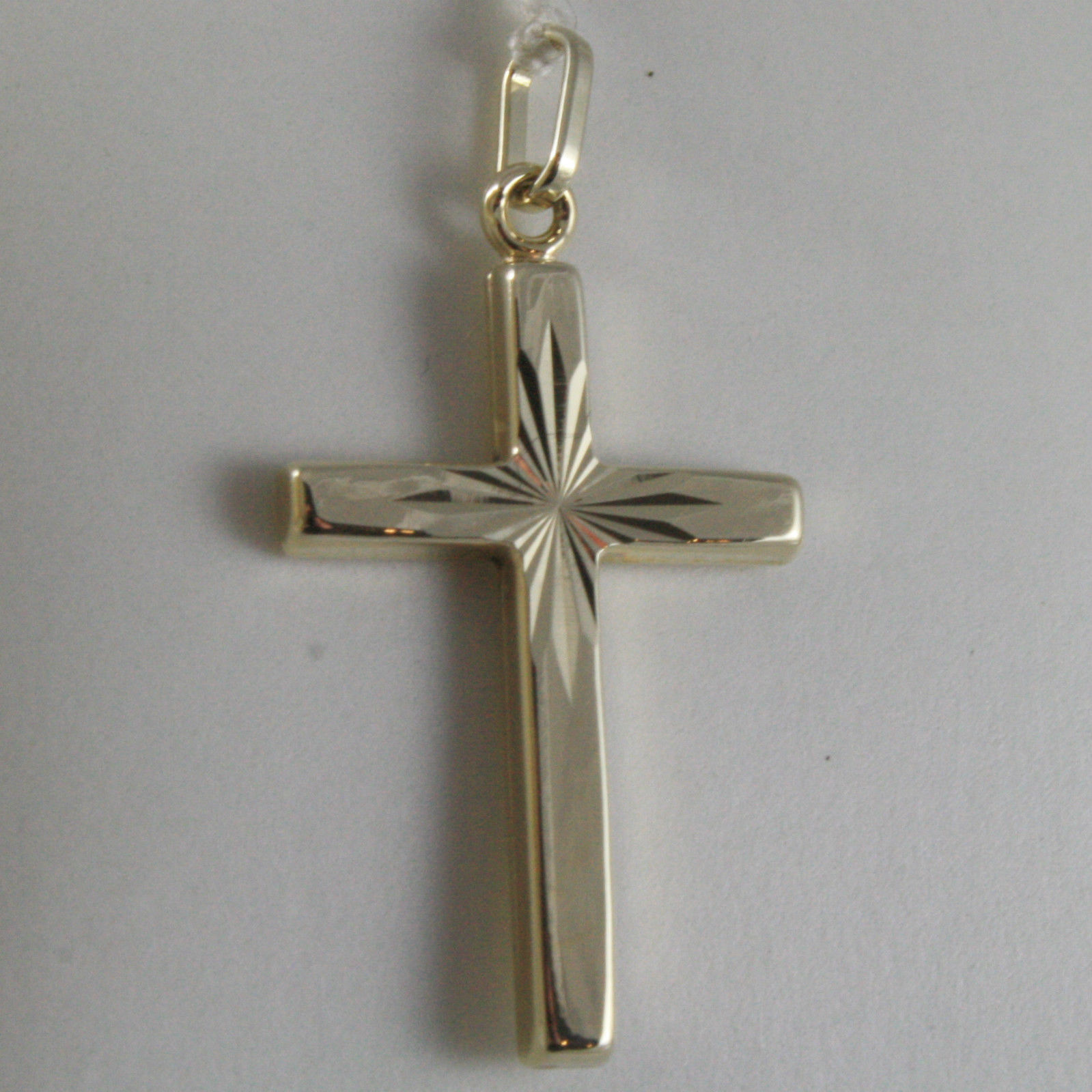 SOLID 9K YELLOW GOLD CROSS, SQUARE, STYLIZED, STAR CARVED, MADE IN ITALY, 9KT
