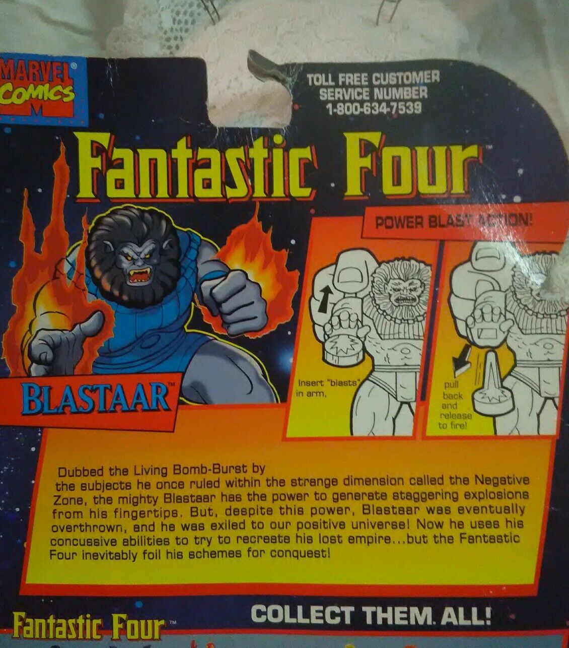 "Fantastic Four ""BLASTAAR"" Action Figure 1995 Toy Biz New With Package Damage"