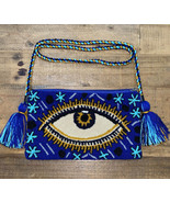 Authentic 100% Wayuu Crossbody Clutch Bag Medium Size Evil Eye Swirly Ro... - $50.00