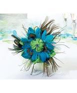 Lillian Rose Aqua Peacock Feather Wedding Bouquet - $53.34