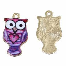 Purple Owl Charms - Wholesale Gold Plated Enamel Pendants C2577- 2, 5 Or... - $10.00+