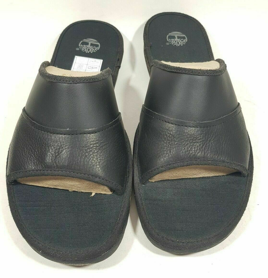 Primary image for Timberland Sandals Mens Ammon Slide Black Leather 49524 Comfort Casual Size 13