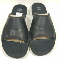 Timberland Sandals Mens Ammon Slide Black Leather 49524 Comfort Casual S... - $46.99