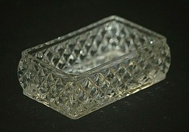 Elegant Clear Crystal Open Trinket Box w Diamond Sides Starburst Bottom Unknown - $21.77
