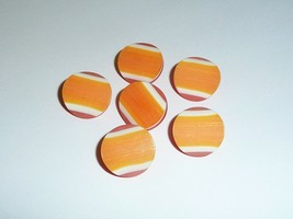 "Orange Tri-Color Vintage Plastic Shank Buttons 3/4"" Diam Made in Holland... - $4.79"