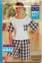 See & Sew X217/6892. Women, Summer Short and Top, Sizes L - XL, Easy Sew... - $12.00