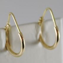 18K YELLOW GOLD EARRINGS MINI CIRCLE HOOP 14 MM 0.55 IN DIAMETER MADE IN ITALY image 1