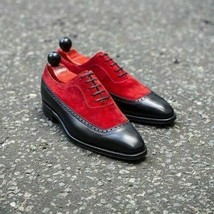 Handmade Men's Black Leather & Red Suede Lace Up Oxford Shoes image 1