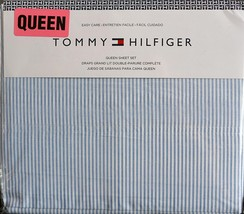 Tommy Hilfiger Ithaca Blue White Oxford Stripe Sheet Set Queen - $67.00
