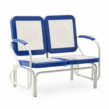 Retro Vintage Style Blue White Metal Patio Glider Bench Sofa Settee Outdoor - $227.20