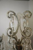 Dining Table Top Centerpiece Candle Holder Silver Chandelier Glass Tear Drops image 3