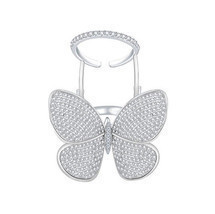 Unique Active Butterfly Ring Sparkling Clear Cubic zirconia Paved Luxury... - $19.79
