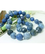 Sunset Dumortierite Round Gemstone Beaded Necklace Blue 20 inch - $58.00